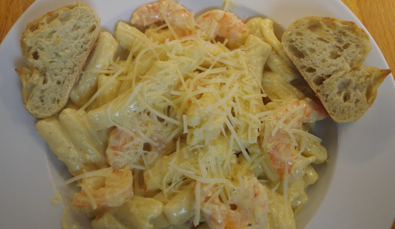 Fettuccine Alfredo (made with Penne) with Shrimp