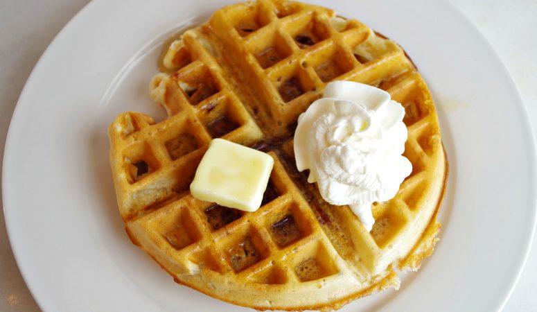 Sourdough Pearl Sugar & Bacon Waffles
