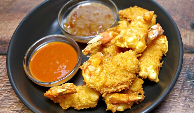 Sweet Spicy Coconut Beer Battered Shrimp