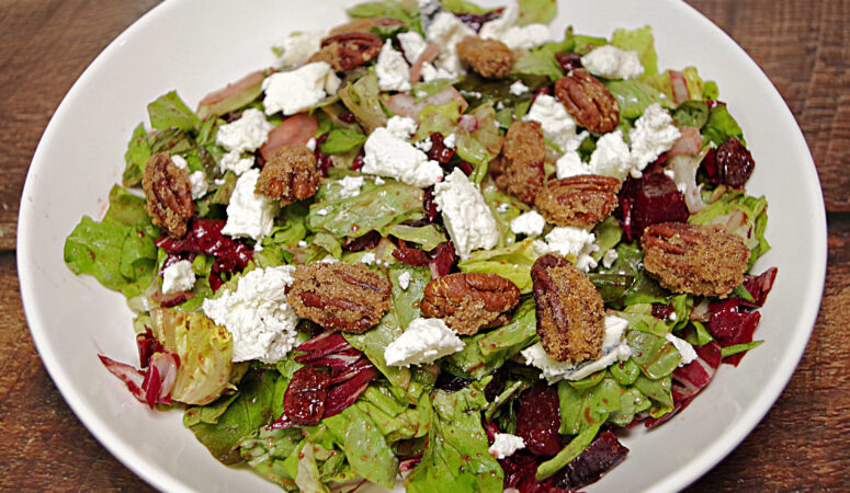 Goat Cheese and Beet Salad With Candied Pecans