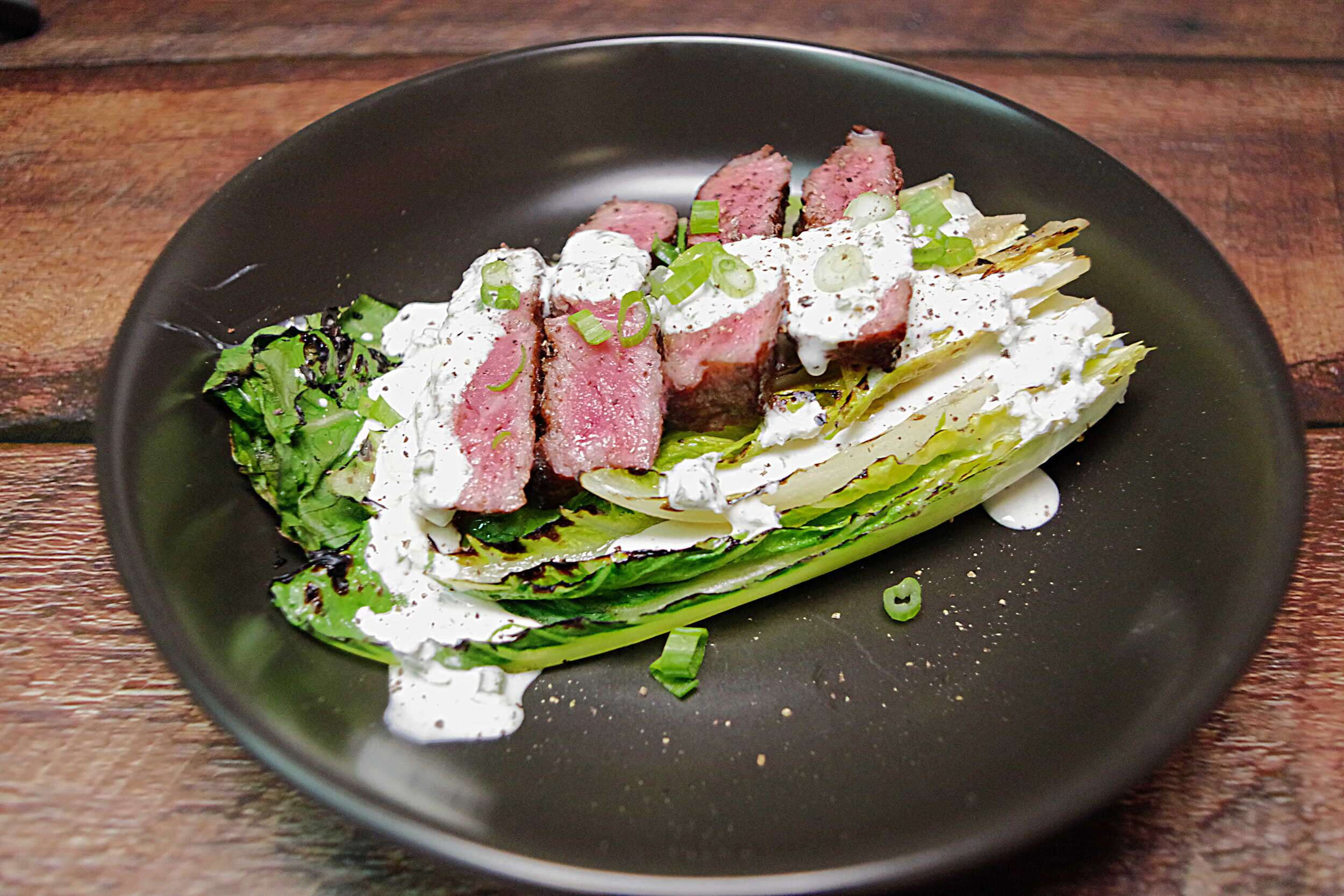 Grilled Romaine Steak Salad & Horseradish Dressing
